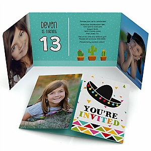 Let's Fiesta - Personalized Birthday Party Photo Invitations - Set of 12