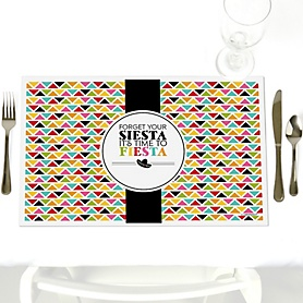 Let's Fiesta - Party Table Decorations - Mexican Fiesta Party Placemats - Set of 12