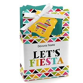 Let's Fiesta - Personalized Mexican Fiesta Party Favor Boxes - Set of 12