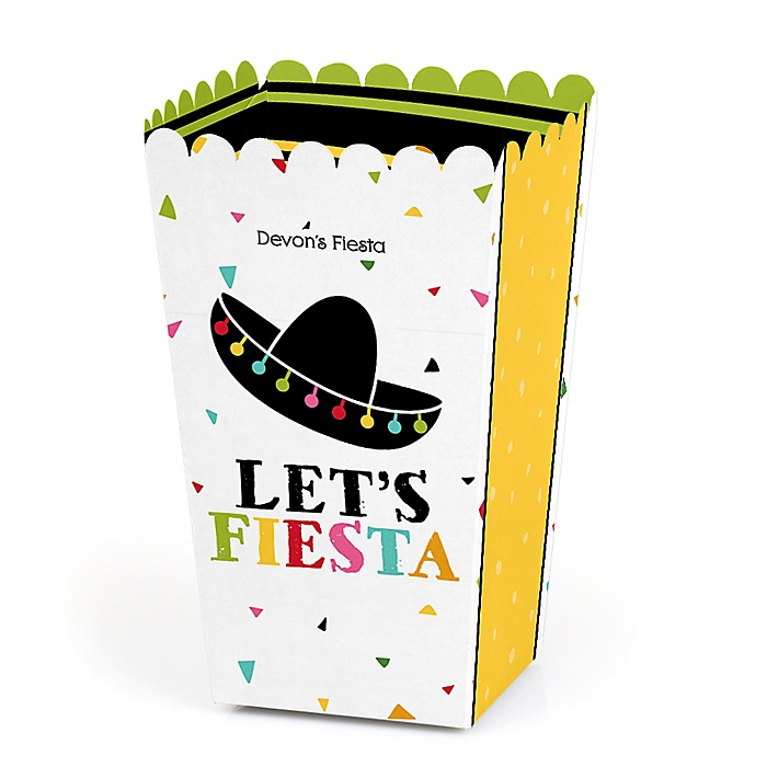 Let's Fiesta - Personalized Mexican Fiesta Party Popcorn Favor Treat Boxes - Set of 12