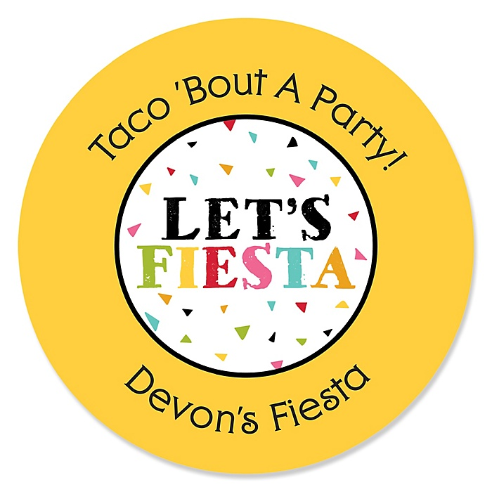Let's Fiesta - Personalized Mexican Fiesta Party Sticker Labels - 24 ct