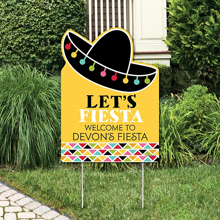 Let's Fiesta - Party Decorations - Mexican Fiesta Personalized Welcome Yard Sign