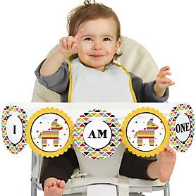 Let's Fiesta 1st Birthday - I am One - First Birthday High Chair Banner