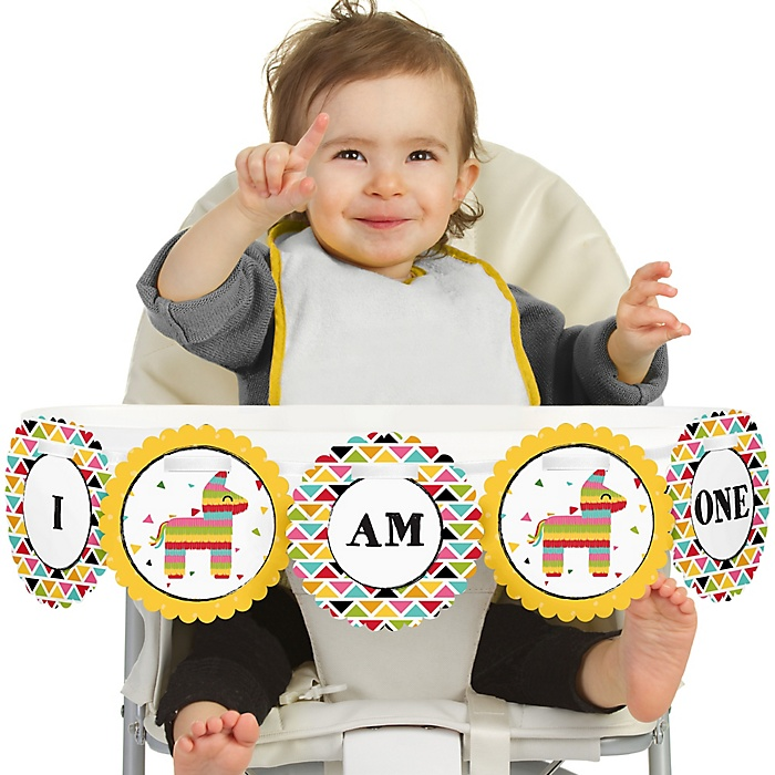 Let's Fiesta 1st Birthday - I am One - First Birthday High Chair Banner