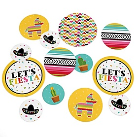 Let's Fiesta - Mexican Fiesta Party Giant Circle Confetti - Cinco de Mayo Party Decorations - Large Confetti 27 Count