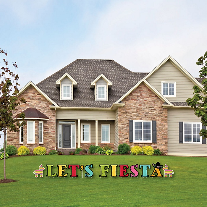 Let's Fiesta - Yard Sign Outdoor Lawn Decorations - Mexican Fiesta Yard Signs - Let's Fiesta