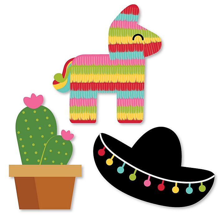 Let's Fiesta - DIY Shaped Mexican Fiesta Party Paper Cut-Outs - 24 ct