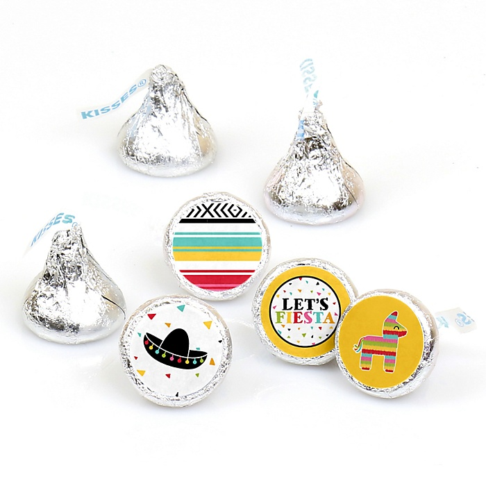 Let's Fiesta - Round Candy Labels Mexican Fiesta Party Favors - Fits Hershey's Kisses - 108 ct