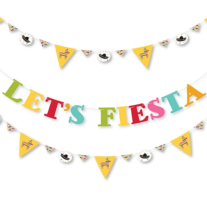 Let's Fiesta - Mexican Fiesta Party Letter Banner Decoration - 36 Banner Cutouts and Let's Fiesta Banner Letters