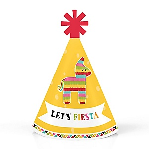 Let's Fiesta - Personalized Mini Cone Mexican Fiesta Party Hats - Small Little Party Hats - Set of 10
