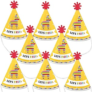 Let's Fiesta - Mini Cone Mexican Fiesta Party Hats - Small Little Party Hats - Set of 8