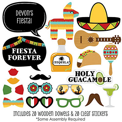 Mexican Fiesta 20 Piece Mexican Themed Photo Booth Props Kit