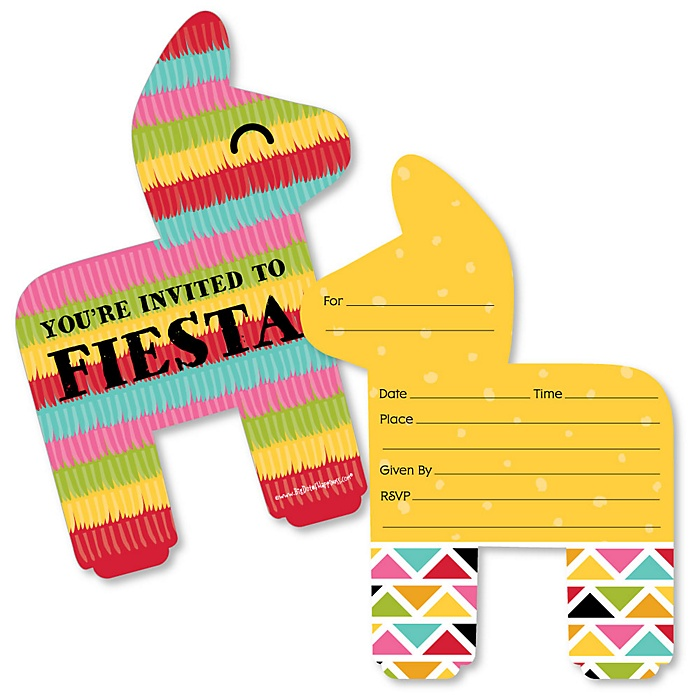 Let's Fiesta Shaped Fill-In Invitations - Mexican Fiesta Invitation Cards with Envelopes - Set of 12