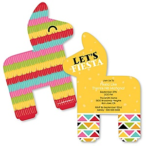 Let's Fiesta - Shaped Mexican Fiesta Invitations - Set of 12