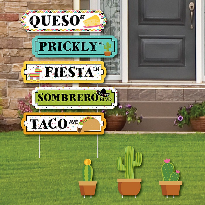 Let's Fiesta - Street Sign Cutouts - Mexican Fiesta Yard Signs & Decorations - Set of 8
