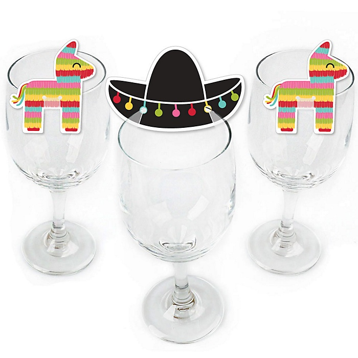 Let's Fiesta - Shaped Mexican Fiesta Wine Glass Markers - Set of 24