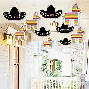 Hanging Let's Fiesta - Outdoor Mexican Fiesta Hanging Porch & Tree Yard Decorations - 10 Pieces