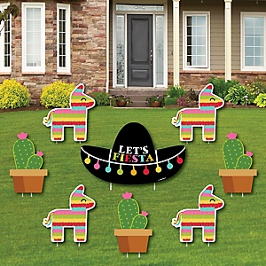 Let's Fiesta - Yard Sign & Outdoor Lawn Decorations - Mexican Fiesta Yard Signs - Set of 8