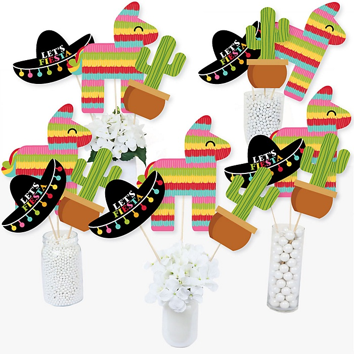 Let's Fiesta - Mexican Fiesta Party Centerpiece Sticks - Table Toppers - Set of 15