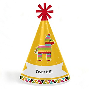 Let's Fiesta - Cone Mexican Fiesta Happy Birthday Party Hats for Kids and Adults - Set of 8 (Standard Size)