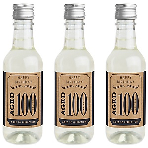 100th Milestone Birthday - Dashingly Aged to Perfection - Mini Wine and Champagne Bottle Label Stickers - Birthday Party Favor Gift - For Women and Men - Set of 16