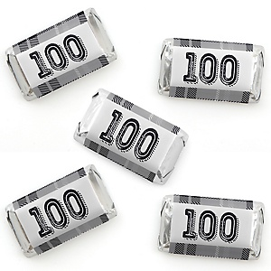100th Milestone Birthday - Dashingly Aged to Perfection - Mini Candy Bar Wrapper Stickers - Birthday Party Small Favors - 40 Count