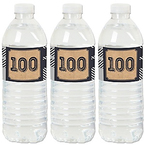 100th Milestone Birthday - Dashingly Aged to Perfection - Birthday Party Water Bottle Sticker Labels - Set of 20
