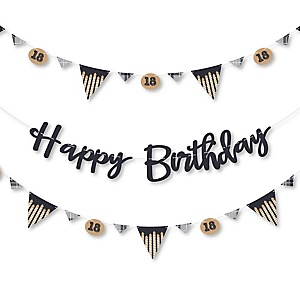 18th Milestone Birthday - Time To Adult - Birthday Party Letter Banner Decoration - 36 Banner Cutouts and Happy Birthday Banner Letters