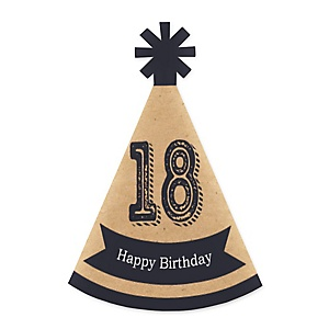 18th Milestone Birthday - Time To Adult - Mini Cone Birthday Party Hats - Small Little Party Hats - Set of 10