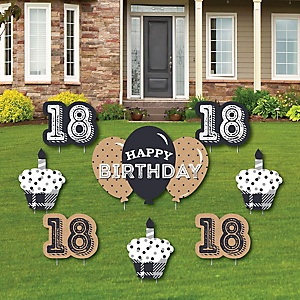 18th Milestone Birthday - Time To Adult - Yard Sign & Outdoor Lawn Decorations - Birthday Party Yard Signs - Set of 8