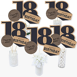 18th Milestone Birthday - Time To Adult - Birthday Party Centerpiece Sticks - Table Toppers - Set of 15