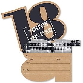 18th Milestone Birthday - Time To Adult - Shaped Fill-In Invitations - Birthday Party Invitation Cards with Envelopes - Set of 12