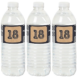 18th Milestone Birthday - Time To Adult - Birthday Party Water Bottle Sticker Labels - Set of 20