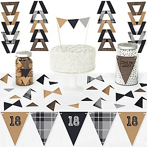 18th Milestone Birthday - Time To Adult - DIY Pennant Banner Decorations - Birthday Party Triangle Kit - 99 Pieces