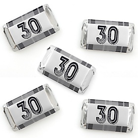 30th Milestone Birthday - Dashingly Aged to Perfection - Mini Candy Bar Wrapper Stickers - Birthday Party Small Favors - 40 Count