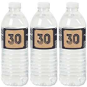 30th Milestone Birthday - Dashingly Aged to Perfection - Birthday Party Water Bottle Sticker Labels - Set of 20