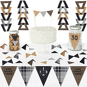30th Milestone Birthday - Dashingly Aged to Perfection - DIY Pennant Banner Decorations - Birthday Party Triangle Kit - 99 Pieces