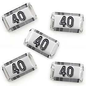 40th Milestone Birthday - Dashingly Aged to Perfection - Mini Candy Bar Wrapper Stickers - Birthday Party Small Favors - 40 Count