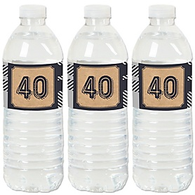 40th Milestone Birthday - Dashingly Aged to Perfection - Birthday Party Water Bottle Sticker Labels - Set of 20