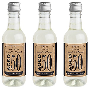 50th Milestone Birthday - Dashingly Aged to Perfection - Mini Wine and Champagne Bottle Label Stickers - Birthday Party Favor Gift - For Women and Men - Set of 16