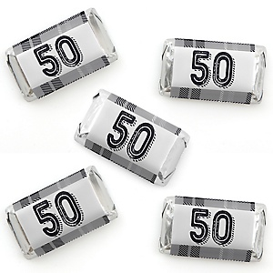 50th Milestone Birthday - Dashingly Aged to Perfection - Mini Candy Bar Wrapper Stickers - Birthday Party Small Favors - 40 Count