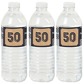 50th Milestone Birthday - Dashingly Aged to Perfection - Birthday Party Water Bottle Sticker Labels - Set of 20