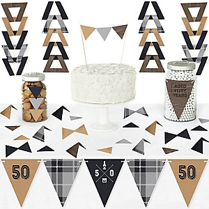 50th Milestone Birthday - Dashingly Aged to Perfection - DIY Pennant Banner Decorations - Birthday Party Triangle Kit - 99 Pieces