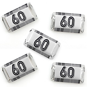 60th Milestone Birthday - Dashingly Aged to Perfection - Mini Candy Bar Wrapper Stickers - Birthday Party Small Favors - 40 Count