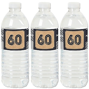 60th Milestone Birthday - Dashingly Aged to Perfection - Birthday Party Water Bottle Sticker Labels - Set of 20