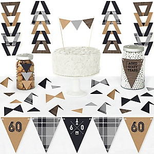 60th Milestone Birthday - Dashingly Aged to Perfection - DIY Pennant Banner Decorations - Birthday Party Triangle Kit - 99 Pieces