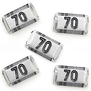 70th Milestone Birthday - Dashingly Aged to Perfection - Mini Candy Bar Wrapper Stickers - Birthday Party Small Favors - 40 Count