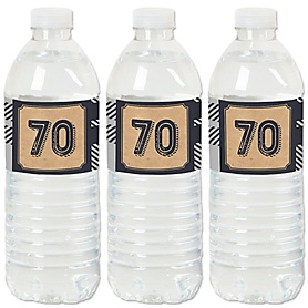 70th Milestone Birthday - Dashingly Aged to Perfection - Birthday Party Water Bottle Sticker Labels - Set of 20