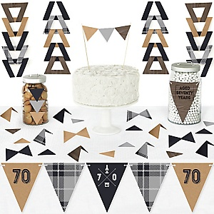 70th Milestone Birthday - Dashingly Aged to Perfection - DIY Pennant Banner Decorations - Birthday Party Triangle Kit - 99 Pieces