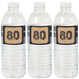 80th Milestone Birthday - Dashingly Aged to Perfection - Birthday Party Water Bottle Sticker Labels - Set of 20